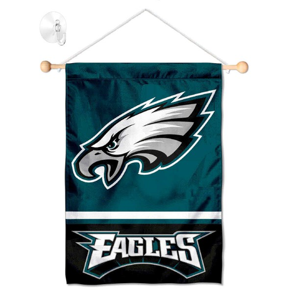 "Philadelphia Eagles Window and Wall Banner kit includes our 12.5""x18"" garden banner which is made of 2 ply poly with liner and has screen printed licensed logos. Also, a 17"" wide banner pole with suction cup is included so your Philadelphia Eagles Window and Wall Banner is ready to be displayed with no tools needed for setup. Fast Overnight Shipping is offered and the flag is Officially Licensed and Approved by the selected team."