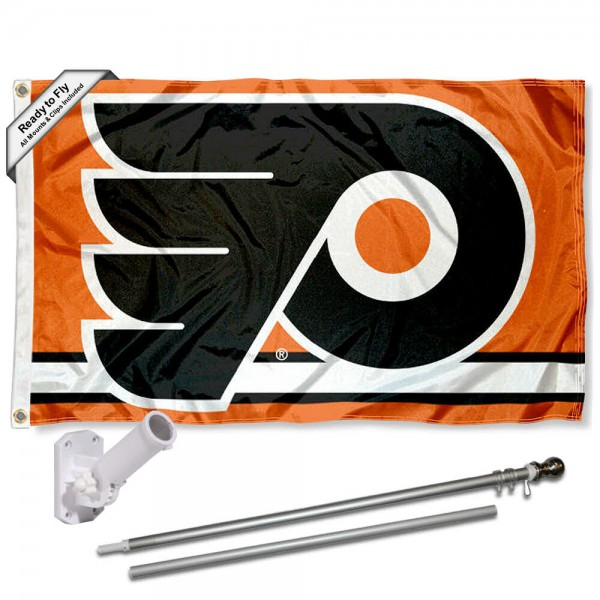 Our Philadelphia Flyers Flag Pole and Bracket Kit includes the flag as shown and the recommended flagpole and flag bracket. The flag is made of polyester, has quad-stitched flyends, and the NHL Licensed team logos are double sided screen printed. The flagpole and bracket are made of rust proof aluminum and includes all hardware so this kit is ready to install and fly.