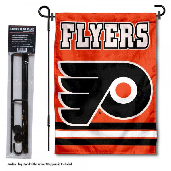 """Philadelphia Flyers Garden Flag and Stand kit includes our 12.5""""x18"""" garden banner which is made of 2 ply poly with liner and has screen printed licensed logos. Also, a 40""""x17"""" inch garden flag stand is included so your Philadelphia Flyers Garden Flag and Stand is ready to be displayed with no tools needed for setup. Fast Overnight Shipping is offered and the flag is Officially Licensed and Approved by the selected team."""