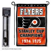 Philadelphia Flyers Stanley Cup Champions Garden Banner and Flagpole Holder Stand