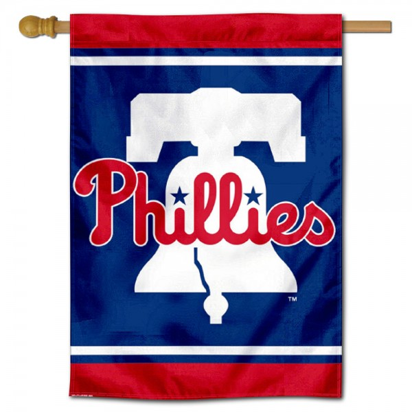 Philadelphia Phillies Bell Double Sided House Flag is screen printed with Philadelphia Phillies logos, is made of 2-ply 100% polyester, and is two sided and double sided. Our banners measure 28x40 inches and hang vertically with a top pole sleeve to insert your banner pole or flagpole.