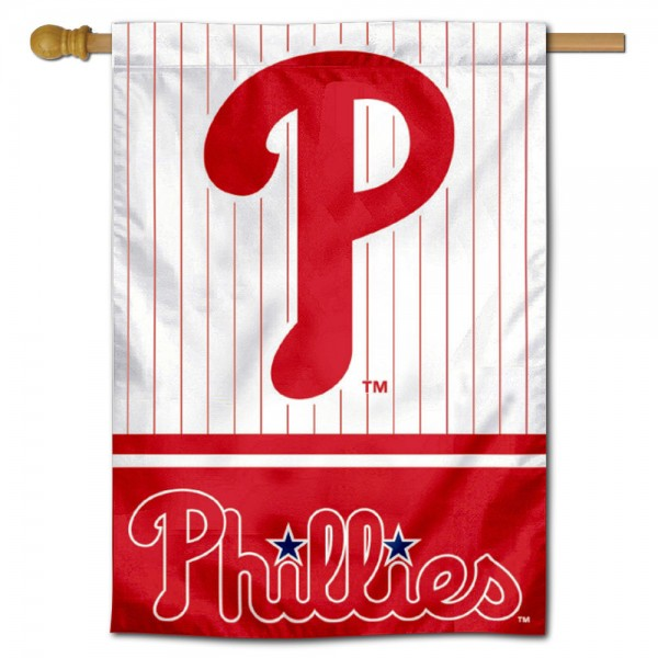 Philadelphia Phillies Double Sided House Flag is screen printed with Philadelphia Phillies logos, is made of 2-ply 100% polyester, and is two sided and double sided. Our banners measure 28x40 inches and hang vertically with a top pole sleeve to insert your banner pole or flagpole.