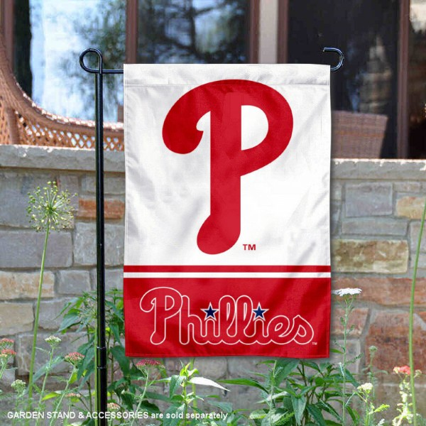 Philadelphia Phillies Garden Flag is 12.5x18 inches in size, is made of 2-ply polyester, and has two sided screen printed logos and lettering. Available with Express Next Day Shipping, our Philadelphia Phillies Garden Flag is MLB Genuine Merchandise and is double sided.