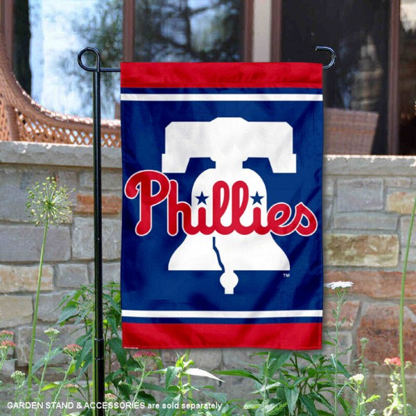 Philadelphia Phillies New Bell Double Sided Garden Flag is 12.5x18 inches in size, is made of 2-ply polyester, and has two sided screen printed logos and lettering. Available with Express Next Day Shipping, our Philadelphia Phillies New Bell Double Sided Garden Flag is MLB Genuine Merchandise and is double sided.