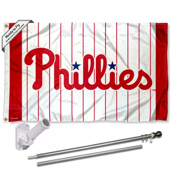 Our Philadelphia Phillies Pinstripes Flag Pole and Bracket Kit includes the flag as shown and the recommended flagpole and flag bracket. The flag is made of polyester, has quad-stitched flyends, and the MLB Licensed team logos are double sided screen printed. The flagpole and bracket are made of rust proof aluminum and includes all hardware so this kit is ready to install and fly.