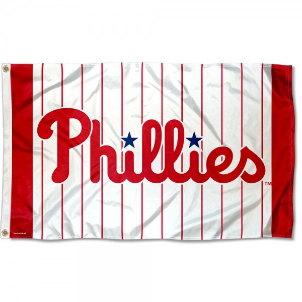 Our Philadelphia Phillies Pinstripes Logo Flag is double sided, made of poly, 3'x5', has two grommets, and four-stitched fly ends. These Philadelphia Phillies Pinstripes Logo Flags are Officially Licensed by the MLB.