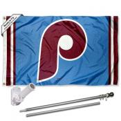 Philadelphia Phillies Retro Vintage Flag Pole and Bracket Kit