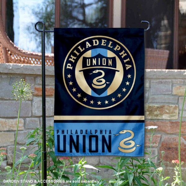 Philadelphia Union Garden Flag is 12.5x18 inches in size, is made of 2-ply polyester, and has two sided screen printed logos and lettering. Available with Express Next Day Shipping, our Philadelphia Union Garden Flag is MLS Genuine Merchandise and is double sided.