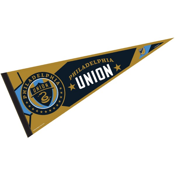 Philadelphia Union Pennant is our Full Size MLS soccer team pennant which measures 12x30 inches, is made of felt, and is single sided screen printed. Our Philadelphia Union Pennant is perfect for showing your MLS team allegiance in any room of the house and is MLS licensed.