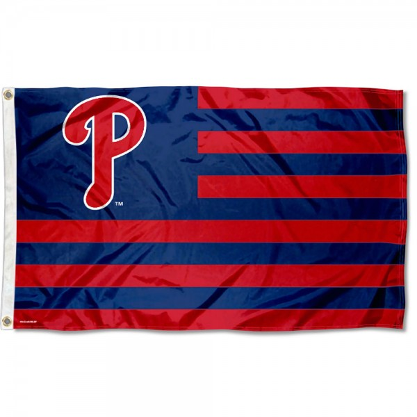 Phillies Nation Flag measures 3x5 feet, is made of polyester, offers quad-stitched flyends, has two metal grommets, and is viewable from both sides with a reverse image on the opposite side. Our Phillies Nation Flag is Genuine MLB Merchandise.