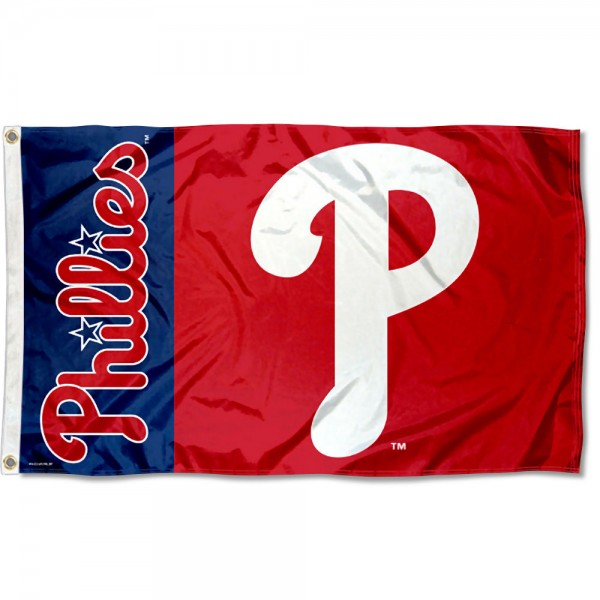 The Phillies Outdoor Flag is four-stitched bordered, double sided, made of poly, 3'x5', and has two grommets. These Philadelphia Phillies Outdoor Flags are MLB Genuine Merchandise.