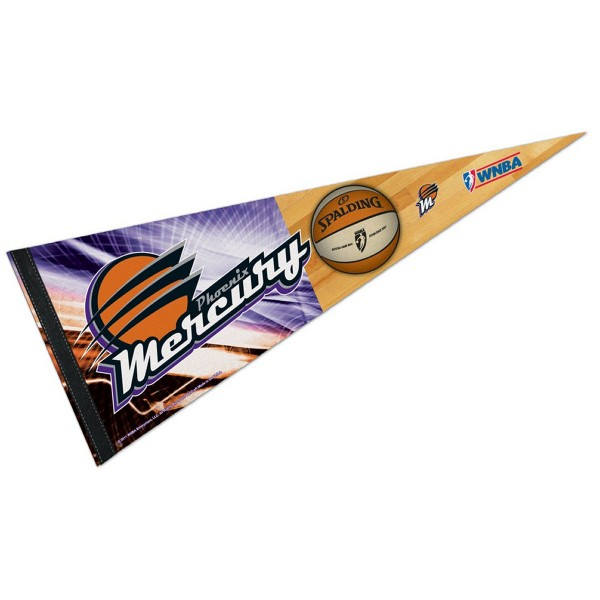 Phoenix Mercury Pennant is our WNBA team pennant which measures 12x30 inches, is made of felt, has a pennant sleeve, and is single sided screen printed. Our Phoenix Mercury Pennant is perfect for showing your WNBA team allegiance in any room of the house and is WNBA officially licensed.