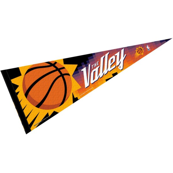 Phoenix Suns City Edition Pennant is 12x30 inches in size is made of wool and felt blends, and offers a pennant stick sleeve for insertion of a pennant stick, if desired. Our Phoenix Suns City Edition Pennant is NBA genuine merchandise.