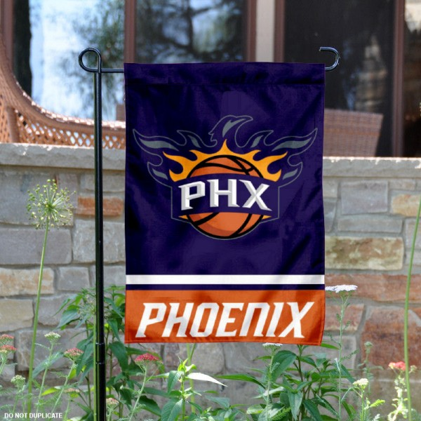 Phoenix Suns Garden Flag is 12.5x18 inches in size, is made of 2-ply polyester, and has two sided screen printed logos and lettering. Available with Express Next Day Shipping, our Phoenix Suns Garden Flag is NBA Genuine Merchandise and is double sided.