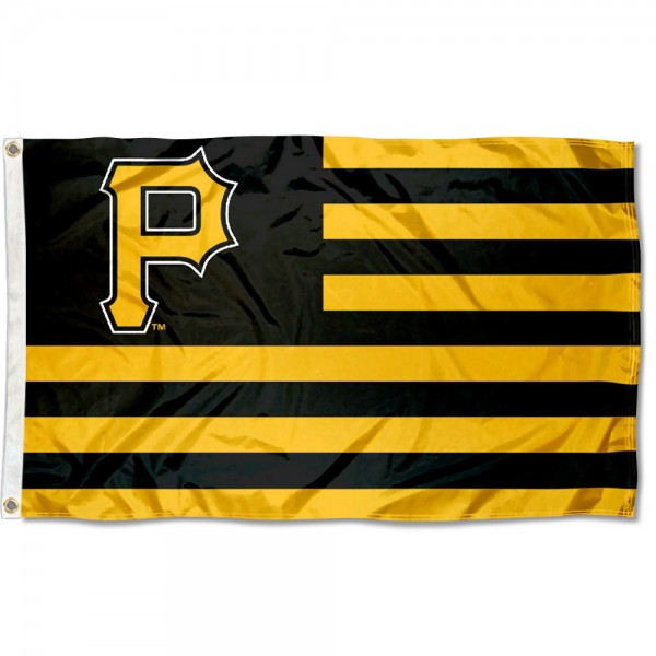 Pirates Nation Flag measures 3x5 feet, is made of polyester, offers quad-stitched flyends, has two metal grommets, and is viewable from both sides with a reverse image on the opposite side. Our Pirates Nation Flag is Genuine MLB Merchandise.