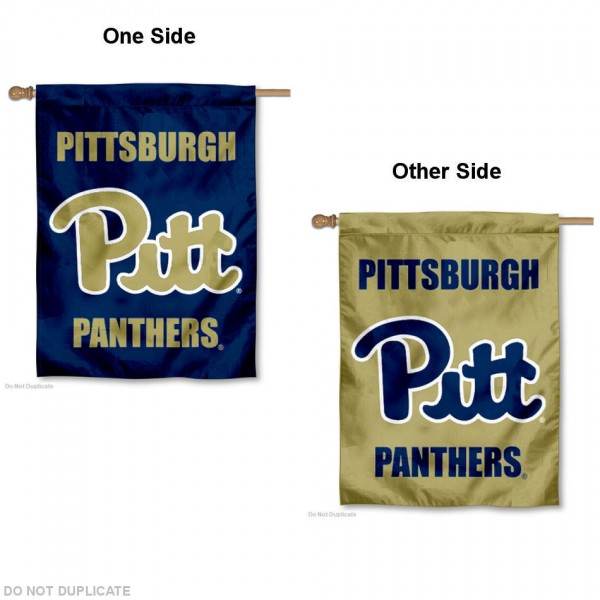 Pitt Panthers Dual Logo House Flag is a vertical house flag which measures 30x40 inches, is made of 2 ply 100% polyester, offers screen printed NCAA team insignias, and has a top pole sleeve to hang vertically. Our Pitt Panthers Dual Logo House Flag is officially licensed by the selected university and the NCAA.