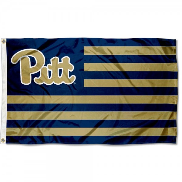 Pitt Panthers Stripes Flag measures 3'x5', is made of polyester, offers double stitched flyends for durability, has two metal grommets, and is viewable from both sides with a reverse image on the opposite side. Our Pitt Panthers Stripes Flag is officially licensed by the selected school university and the NCAA.