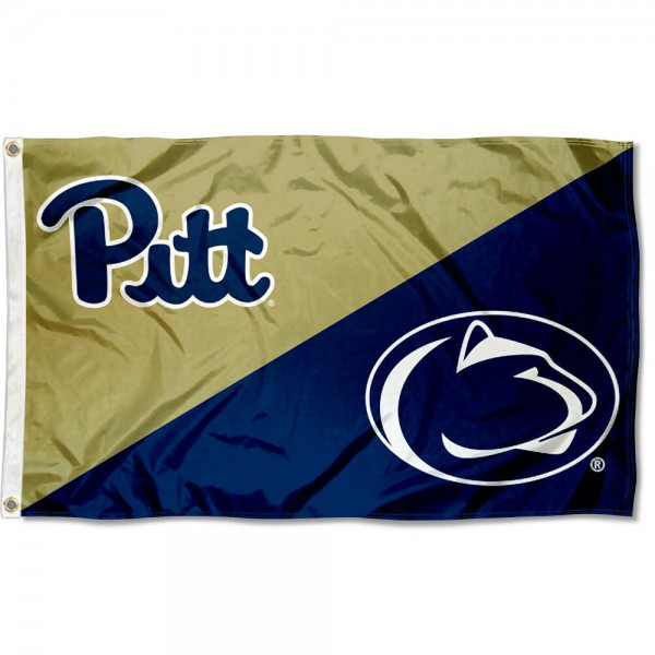 Pitt vs. Penn State State House Divided 3x5 Flag sizes at 3x5 feet, is made of 100% polyester, has quadruple-stitched fly ends, and the university logos are screen printed into the Pitt vs. Penn State State House Divided 3x5 Flag. The Pitt vs. Penn State State House Divided 3x5 Flag is approved by the NCAA and the selected universities.