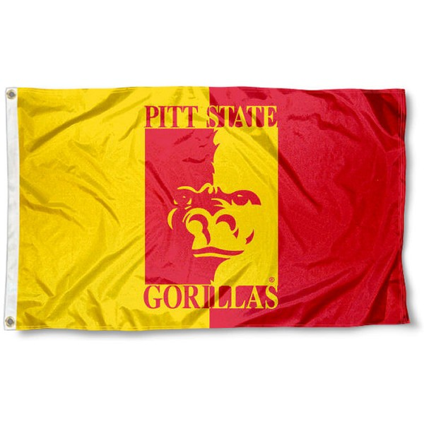 Pittsburg State Gorilla Outdoor Flag measures 3'x5', is made of 100% poly, has quadruple stitched sewing, two metal grommets, and has double sided Pitt State Gorillas logos. Our Pittsburg State Gorilla Outdoor Flag is officially licensed by the selected university and the NCAA.