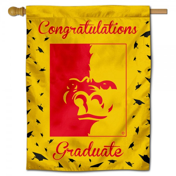 Pittsburg State Gorillas Congratulations Graduate Flag measures 30x40 inches, is made of poly, has a top hanging sleeve, and offers dye sublimated Pittsburg State Gorillas logos. This Decorative Pittsburg State Gorillas Congratulations Graduate House Flag is officially licensed by the NCAA.