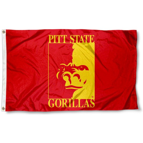 Pittsburg State Gorillas Crimson Flag measures 3x5 feet, is made of 100% polyester, offers quadruple stitched flyends, has two metal grommets, and offers screen printed NCAA team logos and insignias. Our Pittsburg State Gorillas Crimson Flag is officially licensed by the selected university and NCAA.