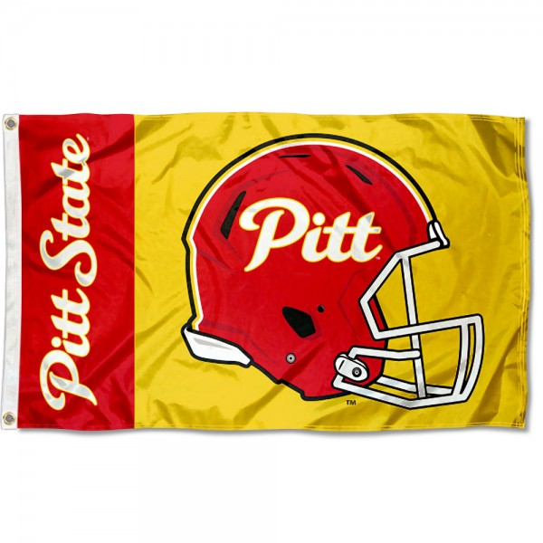 Pittsburg State Gorillas Football Helmet Flag measures 3x5 feet, is made of 100% polyester, offers quadruple stitched flyends, has two metal grommets, and offers screen printed NCAA team logos and insignias. Our Pittsburg State Gorillas Football Helmet Flag is officially licensed by the selected university and NCAA.