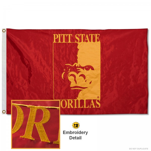 Pittsburg State Gorillas Nylon Embroidered Flag measures 3'x5', is made of 100% nylon, has quadruple flyends, two metal grommets, and has double sided appliqued and embroidered University logos. These Pittsburg State Gorillas 3x5 Flags are officially licensed by the selected university and the NCAA.