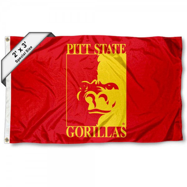 Pittsburg State Gorillas Small 2'x3' Flag measures 2x3 feet, is made of 100% polyester, offers quadruple stitched flyends, has two brass grommets, and offers printed Pittsburg State Gorillas logos, letters, and insignias. Our 2x3 foot flag is Officially Licensed by the selected university.