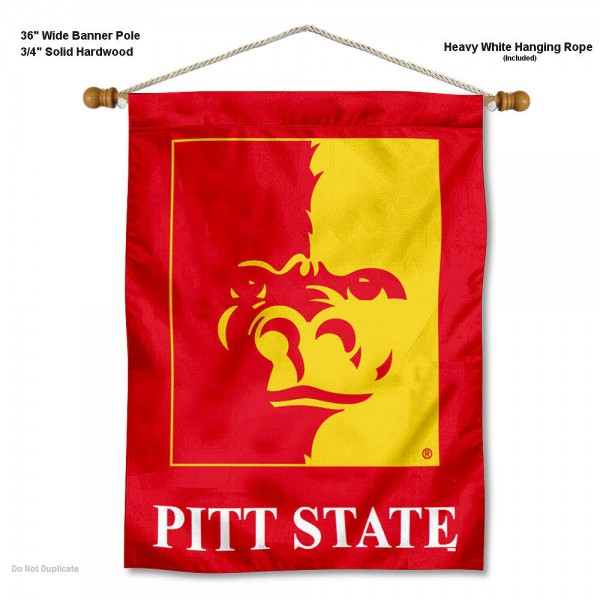 """Pittsburg State Gorillas Wall Banner is constructed of polyester material, measures a large 30""""x40"""", offers screen printed athletic logos, and includes a sturdy 3/4"""" diameter and 36"""" wide banner pole and hanging cord. Our Pittsburg State Gorillas Wall Banner is Officially Licensed by the selected college and NCAA."""