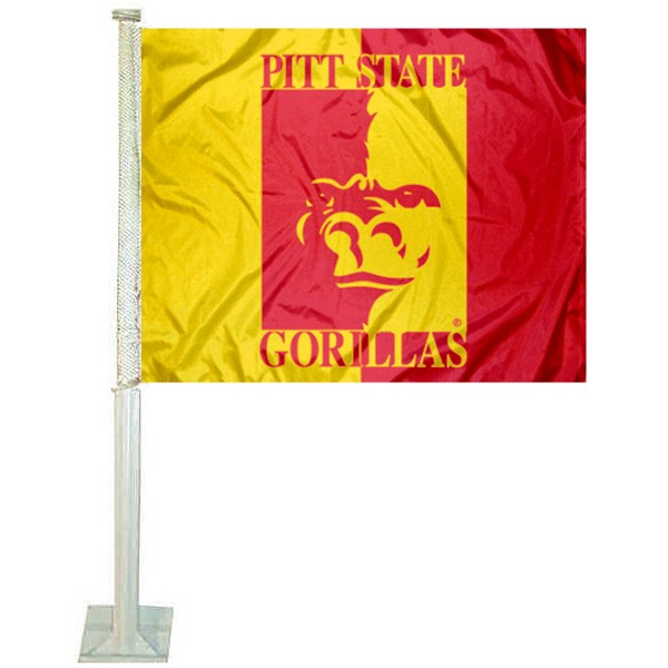 Pittsburg State University Car Flag measures 12x15 inches, is constructed of sturdy 2 ply polyester, and has dye sublimated school logos which are readable and viewable correctly on both sides. Pittsburg State University Car Flag is officially licensed by the NCAA and selected university