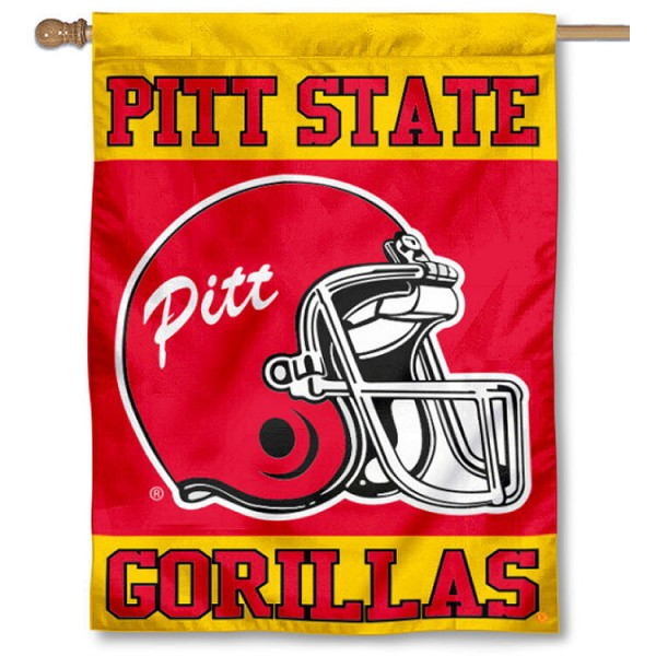 Pittsburg State University Helmet House Flag is a vertical house flag which measures 30x40 inches, is made of 2 ply 100% polyester, offers dye sublimated NCAA team insignias, and has a top pole sleeve to hang vertically. Our Pittsburg State University Helmet House Flag is officially licensed by the selected university and the NCAA.