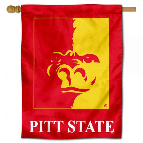 "Pittsburg State University House Flag is constructed of polyester material, is a vertical house flag, measures 30""x40"", offers screen printed athletic insignias, and has a top pole sleeve to hang vertically. Our Pittsburg State University House Flag is Officially Licensed by Pittsburg State University and NCAA."