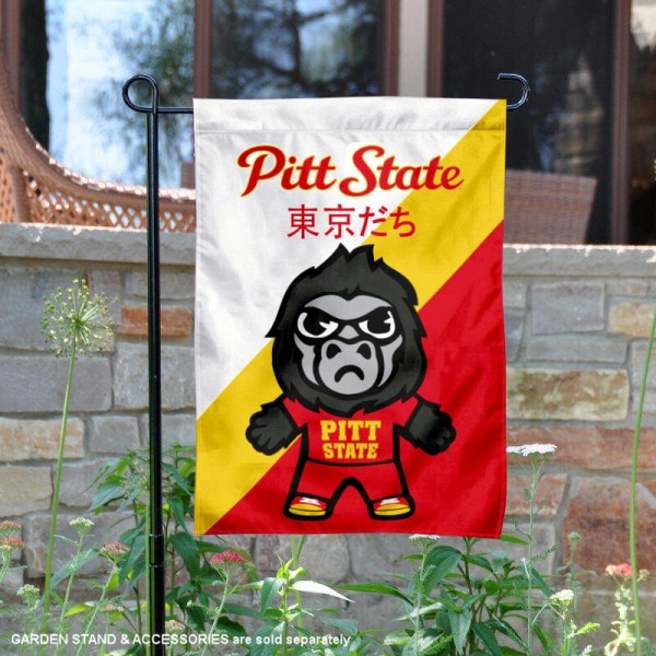Pittsburg State University Tokyodachi Mascot Yard Flag is 13x18 inches in size, is made of double layer polyester, screen printed university athletic logos and lettering, and is readable and viewable correctly on both sides. Available same day shipping, our Pittsburg State University Tokyodachi Mascot Yard Flag is officially licensed and approved by the university and the NCAA.