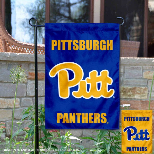 Pittsburgh Panthers Blue Gold Garden Flag is 13x18 inches in size, is made of 2-layer polyester, screen printed university athletic logos and lettering, and is readable and viewable correctly on both sides. Available same day shipping, our Pittsburgh Panthers Blue Gold Garden Flag is officially licensed and approved by the university and the NCAA.