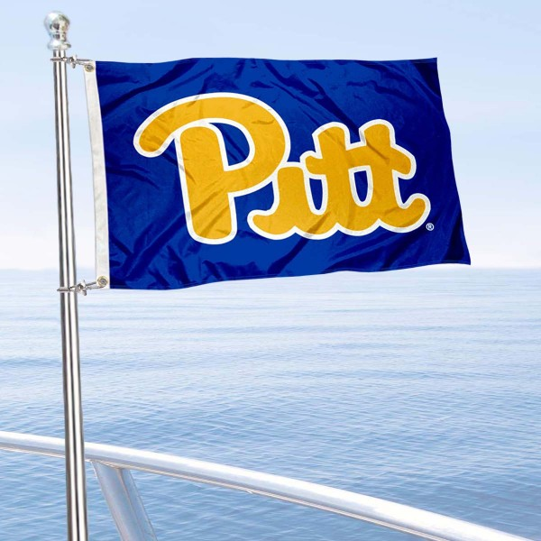 Pittsburgh Panthers Boat and Mini Flag is 12x18 inches, polyester, offers quadruple stitched flyends for durability, has two metal grommets, and is double sided. Our mini flags for University of Pittsburgh are licensed by the university and NCAA and can be used as a boat flag, motorcycle flag, golf cart flag, or ATV flag.