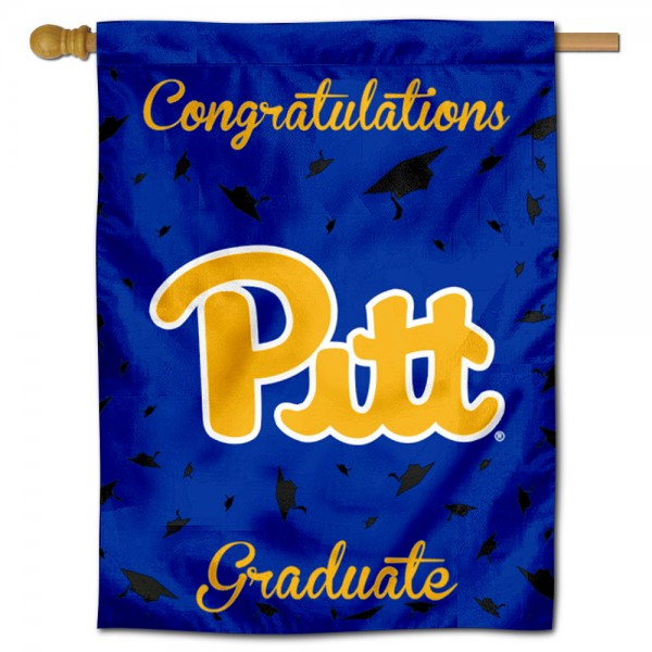 Pittsburgh Panthers Congratulations Graduate Flag measures 30x40 inches, is made of poly, has a top hanging sleeve, and offers dye sublimated Pittsburgh Panthers logos. This Decorative Pittsburgh Panthers Congratulations Graduate House Flag is officially licensed by the NCAA.