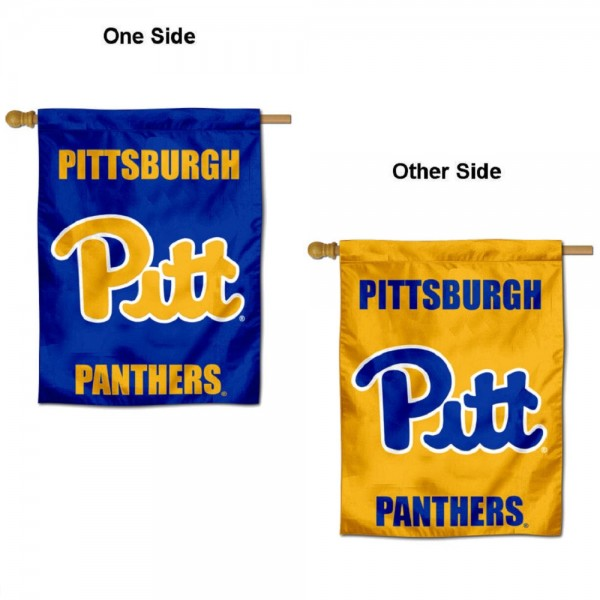 Pittsburgh Panthers Double Sided House Flag is a vertical house flag which measures 30x40 inches, is made of 2 ply 100% polyester, offers screen printed NCAA team insignias, and has a top pole sleeve to hang vertically. Our Pittsburgh Panthers Double Sided House Flag is officially licensed by the selected university and the NCAA.