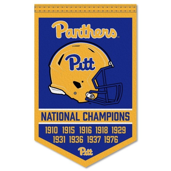 Pittsburgh Panthers Football National Champions Banner consists of our sports dynasty year banner which measures 15x24 inches, is constructed of rigid felt, is single sided imprinted, and offers a pennant sleeve for insertion of a pennant stick, if desired. This sports banner is a unique collectible and keepsake of the legacy game and is Officially Licensed and University, School, and College Approved.