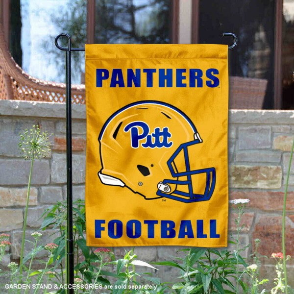 Pittsburgh Panthers Helmet Yard Garden Flag is 13x18 inches in size, is made of 2-layer polyester with Liner, screen printed university athletic logos and lettering, and is readable and viewable correctly on both sides. Available same day shipping, our Pittsburgh Panthers Helmet Yard Garden Flag is officially licensed and approved by the university and the NCAA.