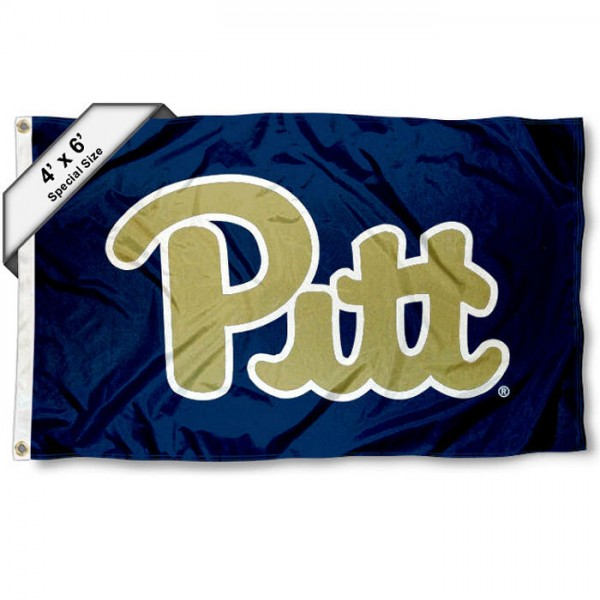 Pittsburgh Panthers Large 4x6 Flag measures 4x6 feet, is made thick woven polyester, has quadruple stitched flyends, two metal grommets, and offers screen printed NCAA Pittsburgh Panthers Large athletic logos and insignias. Our Pittsburgh Panthers Large 4x6 Flag is officially licensed by Pittsburgh Panthers and the NCAA.