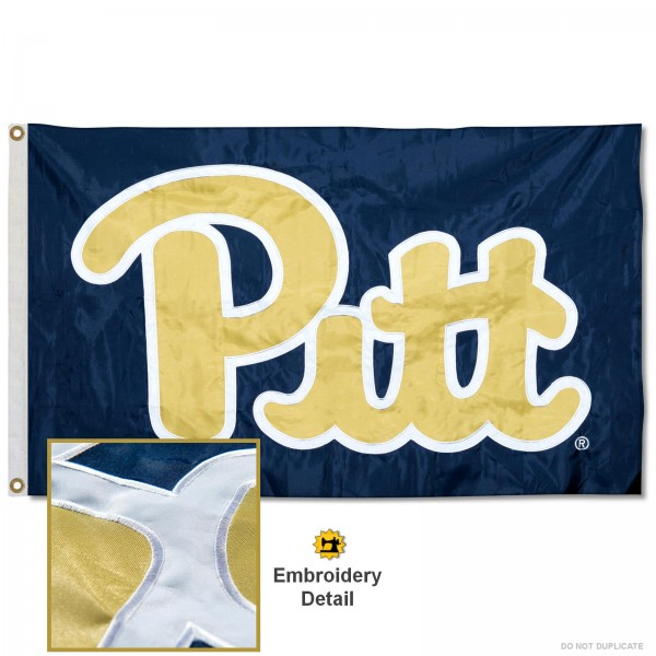 Pittsburgh Panthers PITT Nylon Embroidered Flag measures 3'x5', is made of 100% nylon, has quadruple flyends, two metal grommets, and has double sided appliqued and embroidered University logos. These Pittsburgh Panthers 3x5 Flags are officially licensed by the selected university and the NCAA.