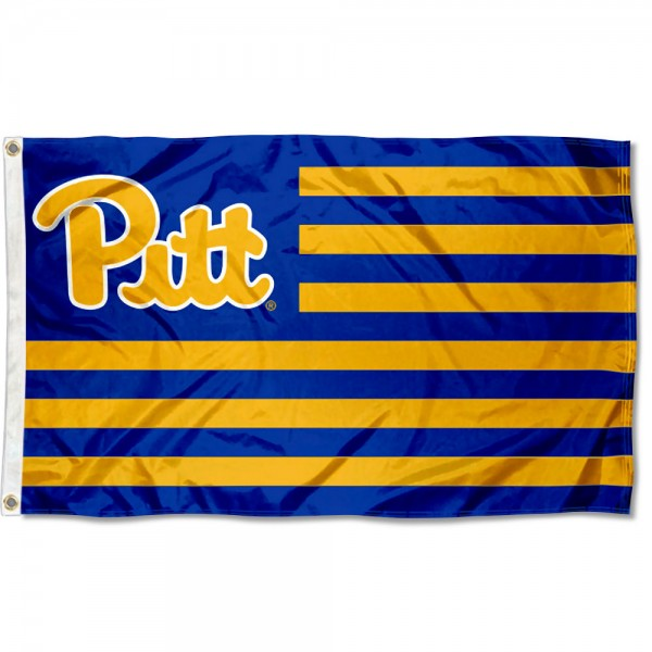 Pittsburgh Panthers Stripes Flag measures 3'x5', is made of polyester, offers double stitched flyends for durability, has two metal grommets, and is viewable from both sides with a reverse image on the opposite side. Our Pittsburgh Panthers Stripes Flag is officially licensed by the selected school university and the NCAA.