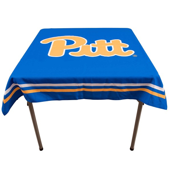 Pittsburgh Panthers Table Cloth measures 48 x 48 inches, is made of 100% Polyester, seamless one-piece construction, and is perfect for any tailgating table, card table, or wedding table overlay. Each includes Officially Licensed Logos and Insignias.