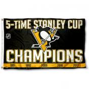 Pittsburgh Penguins 5 Time Stanley Cup Champs Flag