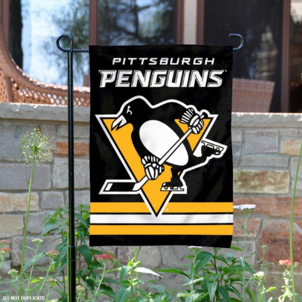 Pittsburgh Penguins Garden Flag is 12.5x18 inches in size, is made of 2-ply polyester, and has two sided screen printed logos and lettering. Available with Express Next Day Ship, our Pittsburgh Penguins Garden Flag is NHL Officially Licensed and is double sided.