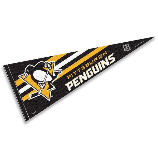 Pittsburgh Penguins NHL Pennant is our full size 12x30 inch pennant which is made of felt, is single sided screen printed, and is perfect for decorating at home or office. Display your NHL hockey allegiance with this NHL Genuine Merchandise item.