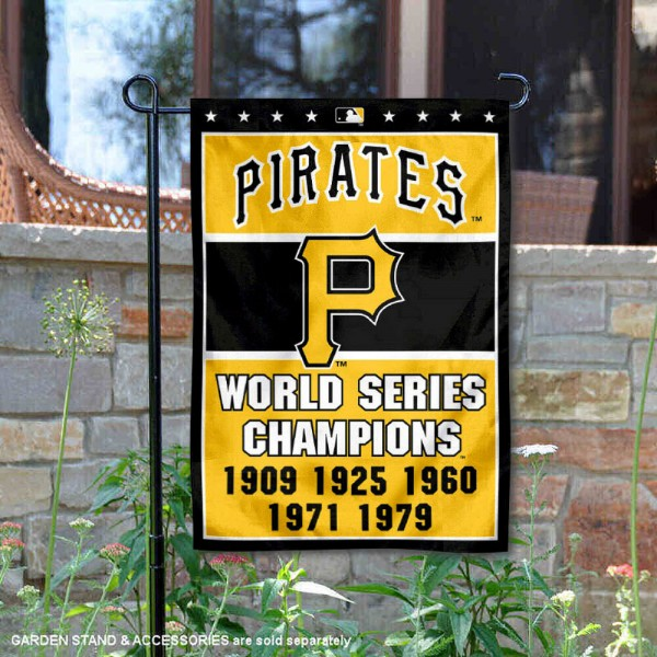 Pittsburgh Pirates 5-Time World Series Champions Garden Flag is 12.5x18 inches in size, is made of 2-ply polyester, and has two sided screen printed logos and lettering. Available with Express Next Day Shipping, our Pittsburgh Pirates 5-Time World Series Champions Garden Flag is MLB Genuine Merchandise and is double sided.