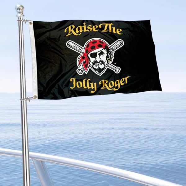 "Our Pittsburgh Pirates Boat and Nautical Flag is 12""x18"", made of three-ply poly, has a solid header with two metal grommets, and is double sided. This Boat and Nautical Flag for Pittsburgh Pirates is Officially Licensed by the MLB and can also be used as a motorcycle flag, boat flag, golf cart flag, or recreational flag."