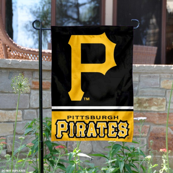 Pittsburgh Pirates Garden Flag is 12.5x18 inches in size, is made of 2-ply polyester, and has two sided screen printed logos and lettering. Available with Express Next Day Shipping, our Pittsburgh Pirates Garden Flag is MLB Genuine Merchandise and is double sided.