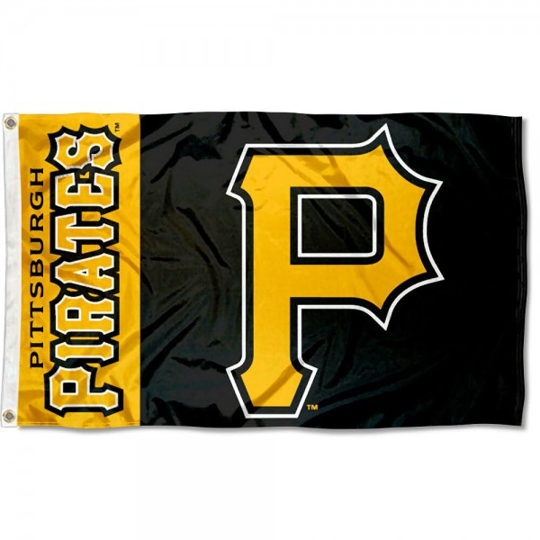 The Pittsburgh Pirates Outdoor Flag is four-stitched bordered, double sided, made of poly, 3'x5', and has two grommets. These Pittsburgh Pirates Outdoor Flags are MLB Genuine Merchandise.